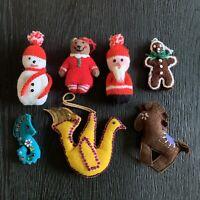Vintage Crochet & Felt Handmade Christmas Ornaments Lot Seahorse Dove Santa Etc