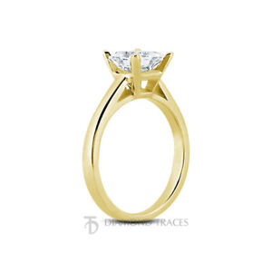 0.62ct G-SI1 Princess Natural Certified Diamond 14k  Solitaire Engagement Ring