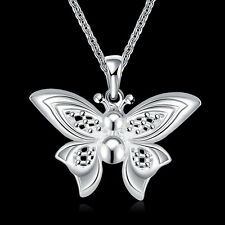 925Sterling Silver Vivid Lovely Butterfly Women Pendant Chain Necklace GN783