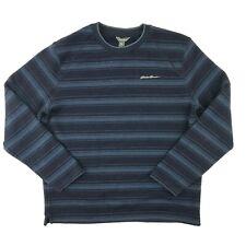 Eddie Bauer Fleece Lined Sweater Large Men Blue Crew Neck Stripes Outdoor Casual