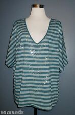 EYESHADOW Teal Blue Casual Top V-Neck Shirt Plus Size 1X Embellished Sequin