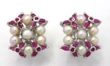 Orecchini di lusso con gemme perle rosse tondi