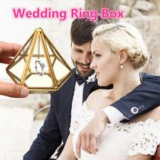 Wedding Ring Box Hanging Prism Holder Supplies Cushion Copper Decor Flower DIY