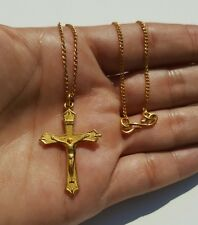 999 24k Gold Chinese Cross Crucifix Pendant Chain Necklace