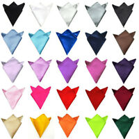 Men High Quality Plain Satin Party Wedding Pocket Square Hanky Handkerchief NEW