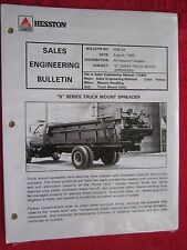"AGCO HESSTON ""S"" SERIES TRUCK MOUNT MANURE SPREADERS SALES ENGINEERING BULLETIN"