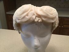 Ladies Vintage Hat Head Piece White Fabric Roses Flowers W/ White Accents