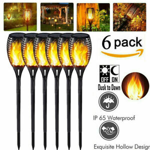 6PCS 12LED Outdoor Garden Solar Flame Light Flickering Waterproof Torch Lamp