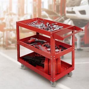 New Red Tool Trolley 3 Shelf Workshop Utility tray Garage Equipment Wheel Cart