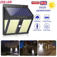 250 LED Solar Power PIR Motion Sensor Wall Lights Outdoor Garden Security Lamp