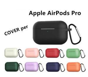 COVER per Apple AirPods Pro CUSTODIA SILICONE morbido+ ACCESSORI GANCIO