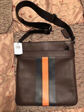 "COACH - CHARLES CROSSBODY W/VARSIT LEATHER ""BLK NICKEL/OXBLOOD/NAVY/CORAL"" MENS"