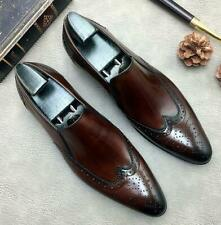 Brogue Mens Dress Formal Real Leather Shoes Carved Pointy Toe Slip on Wedding Sz