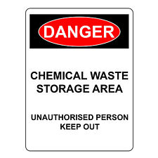 Danger Chemical Waste Storage Area Metal/Aluminium UV Reflective Safety Signs