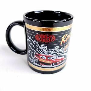 Vtg NHRA Championship Drag Racing Ceramic Mug Cup Racing at the Edge Black Gold
