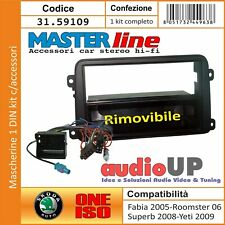 MASCHERINA RADIO 1 DIN PER SKODA ROOMSTER 2006 IN POI CONN ISO + CONN ANTENNA