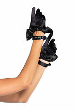 Cropped Satin Ruffle Black Gloves Rhinestone Buckle Steampunk Halloween Costume