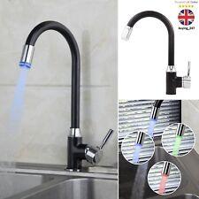 LED Swivel Spout Kitchen Sink Basin Water Tap Spray Deck Black Faucet Mixer UK