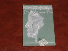 ORIGINAL ART NOUVEAU GLAMOUR RISQUE EMBOSSED POSTCARD - LADY IN VEIL, SILVER.