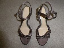 "CLARKS BRONZE SATIN EFFECT SANDALS WITH ANKLE STRAP 3"" HEEL SIZE 5 - NEW"
