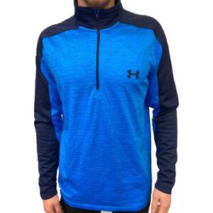 Under Armour UA ColdGear Mens Blue Fleece Sweatshirt Golf 1/4 Zip Top L