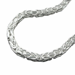 Bracelet 6mm King's Chain Four Sided Shiny Silver 925 23cm