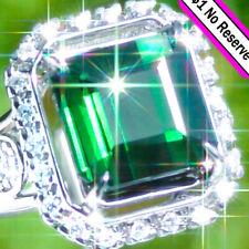 14k GOLD 7.64ct CHROME Tourmaline Diamond Estate Classic Vintage Cocktail Ring ↩