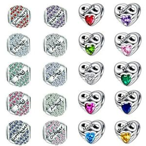 Birthstone Month Charm Daughter Wife Genuine 925 Sterling Silver + Gift pouch