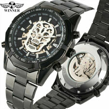 WINNER Skull Automatic Mechanical Wrist Watch Mens Stainless Steel Band Watches