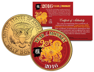 2016 Chinese New Year YEAR OF THE MONKEY 24K Gold Plated JFK Half Dollar US Coin
