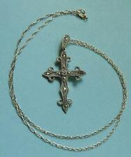 SILVER CROSS WITH MARCASITES  ON 18 INCH CHAIN BOXED
