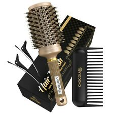Round Hair Brush with Natural Boar Bristles for Blowouts plus detangle comb