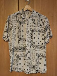 Zara Men's Short Sleeve Boho Summer Shirt Small Relaxed Fit