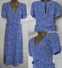 NEW Wallis Womens Animal Print Tea Dress Midi Long Blue & White Summer 8-20 £48