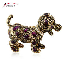 Cute Rhinestone Crystal Enamel Dog Animal Brooch Pin for Women Kids Jewelry Gift