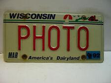 1992 Wisconsin License Plate   PHOTO  Vanity  America's Dairyland        as5161