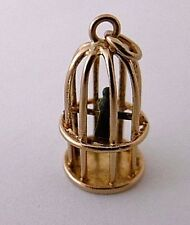 Vintage PARROT  SITTING ON PERCH IN BIRD CAGE tiny miniature 9ct gold charm 1.1g