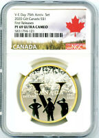 2020 CANADA 1OZ SILVER NGC PF69 UC GILT 75TH V-E DAY ANNIVERSARY FIRST RELEASES