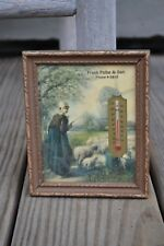 Vintage Framed Thermometer Sheep Country Design Made in USA Working Condition!