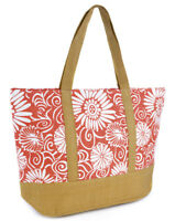 Womens Summer Floral Print Contrast Trim Beach-Pool-Swim-Tote-Shopping Large Bag