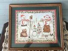 Home Interiors Framed Christmas Decor Picture Snowmen Proverbs 17:22 Merry Heart