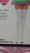 Music Legs Pink Satin Bow Opaque White Thigh High Stockings Pantyhose 4742