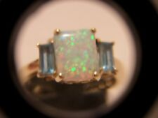 SIGNED CI 10K YELLOW GOLD OPAL RING SIZE 7 1/4 BLUE STONES