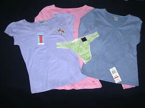 lot 4 pc sz XS JENNI PJ Sleep Top tee shirt cotton Charter Club Thong Panties XS