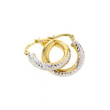 Echt Gold Damen Ohrringe Creolen Gelbgold & Weißgold in 585 Gold 14Karat 2864