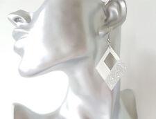 Gorgeous 5cm long white acrylic &  silver glitter diamond shape drop earrings