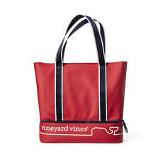 vineyard vines Target Whale Lined Canvas Beach Tote Red Navy
