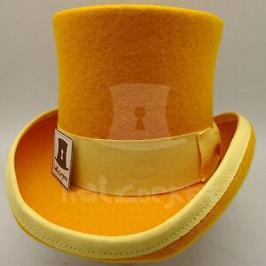 CLASSIC Wool Felt Boys Top Hat Kids Tuxedo Topper Child Party | 52cm | Yellow