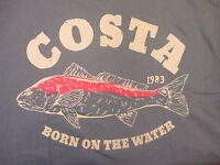 New Authentic Costa Del Mar  Big Bass Red Charcoal Short Sleeve T-Shirt  L