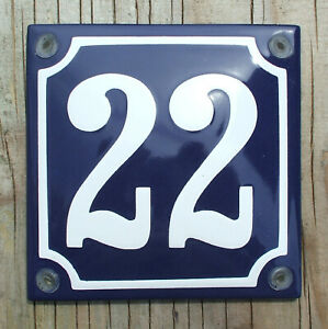 HOUSE NUMBER 22, FRENCH ENAMEL SIGN. WHITE No.22 ON A BLUE BACKGROUND. 10x10cm.